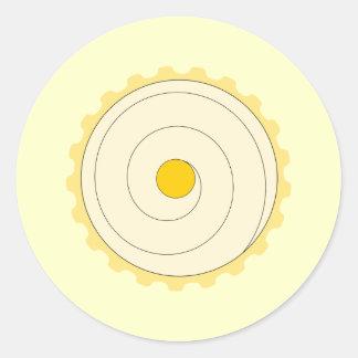 Yellow Cupcake. Iced cake. Round Sticker