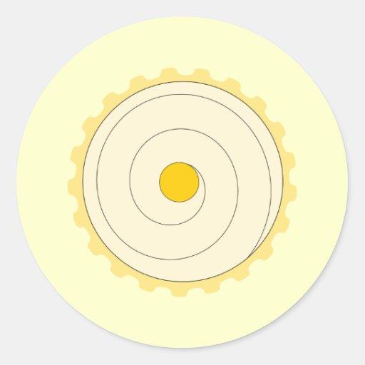 Yellow Cupcake. Iced cake. Round Stickers