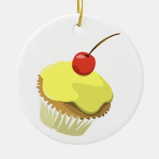 Yellow cupcake ornament