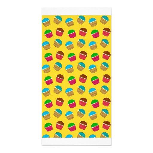 Yellow cupcake pattern photo card