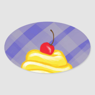 Yellow Cupcake with Blue Background Oval Sticker