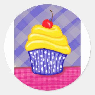 Yellow Cupcake with Blue Background Round Sticker