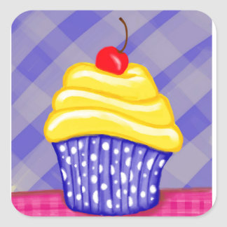 Yellow Cupcake with Blue Background Square Sticker