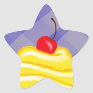 Yellow Cupcake with Blue Background Star Sticker