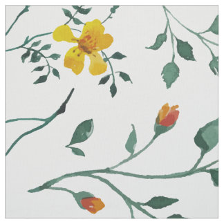 Yellow Cute Flowers & Green Leafs Pattern Fabric