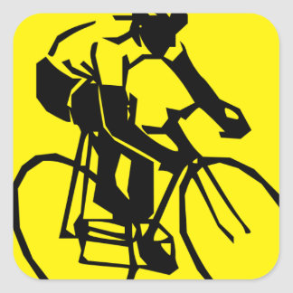 Yellow Cycling Square Sticker