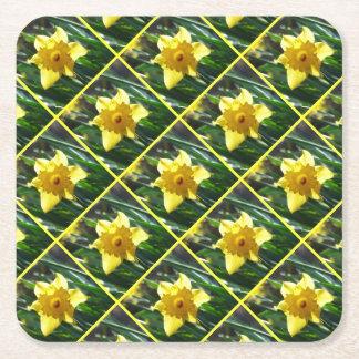 Yellow Daffodil 02.3 Square Paper Coaster