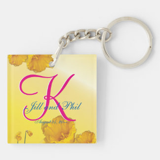 Yellow Daffodil 3d Monogram Double-Sided Square Acrylic Key Ring