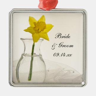 Yellow Daffodil and Pearls Wedding Metal Ornament