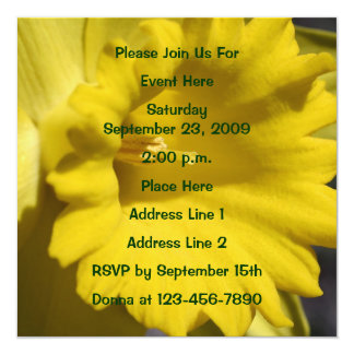 Yellow Daffodil Close Up Floral Invitation
