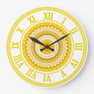 Yellow Daffodil Mandala Pattern Large Clock