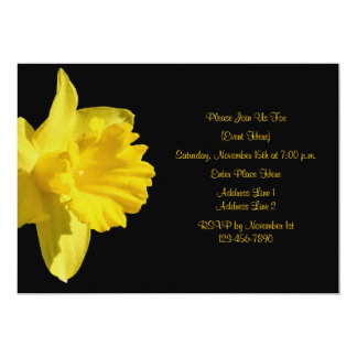 Yellow Daffodil On Black Floral Invitation