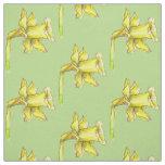 Yellow Daffodil Spring Green Fabric