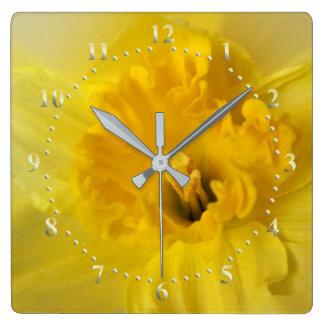 yellow daffodil square wall clock