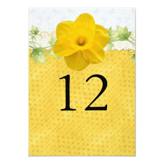 Yellow Daffodil Wedding Table Number 11 Cm X 16 Cm Invitation Card