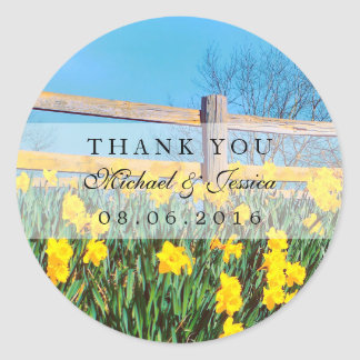 Yellow Daffodils Flower Thank You Label Stickers