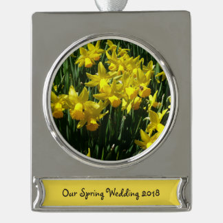 Yellow Daffodils I Cheery Spring Flowers Silver Plated Banner Ornament