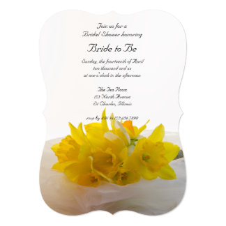 Yellow Daffodils on White Bridal Shower Invitation