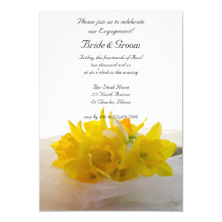 Yellow Daffodils on White Engagement Party Invite