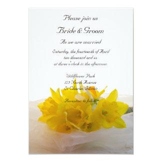 Yellow Daffodils on White Spring Wedding 13 Cm X 18 Cm Invitation Card