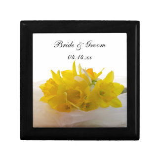 Yellow Daffodils on White Spring Wedding Small Square Gift Box
