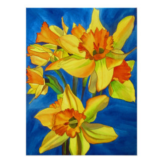 Yellow Daffodils original watercolour flower art Poster