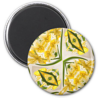 Yellow Daffodils Retro Style 6 Cm Round Magnet