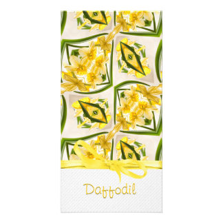 Yellow Daffodils Retro Style Customised Photo Card