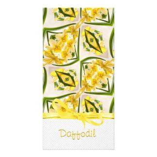 Yellow Daffodils Retro Style Custom Photo Card