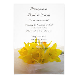 Yellow Daffodils White Spring Wedding Invitation