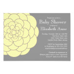 Yellow Dahlia Bloom Floral Neutral  Baby Shower 13 Cm X 18 Cm Invitation Card