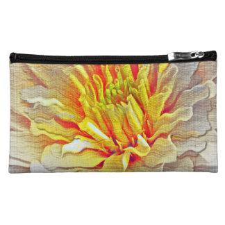 Yellow Dahlia Flower Pencil Sketch Cosmetics Bags