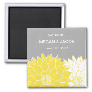 Yellow Dahlia on Gray Save the Date Magnet