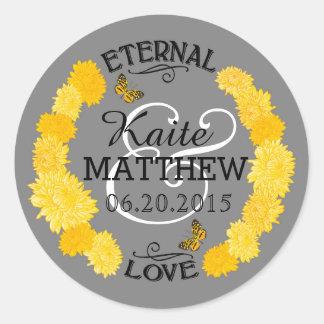 Yellow Dahlia Wreath Wedding Label Round Sticker