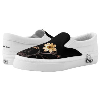 Yellow Dahlias Monogrammed Black Slip-On Shoes