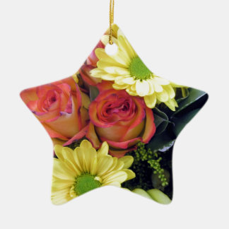 Yellow Daisies and Red Roses Ceramic Star Decoration