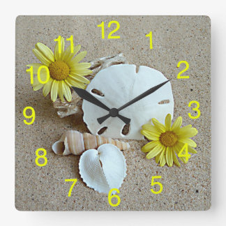 Yellow Daisies and Seashells on Clock