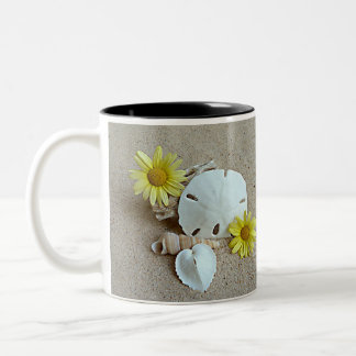 Yellow Daisies and Seashells on Coffee Mug