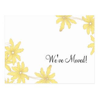 Yellow Daisies Change of Address Postcard