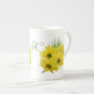 Yellow Daisies Customizable Monogram Bone China Mug