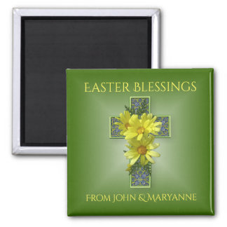 Yellow Daisies Easter Blessings Custom Magnet