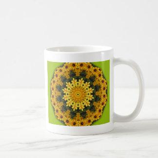 Yellow daisies, Floral mandala-style Basic White Mug