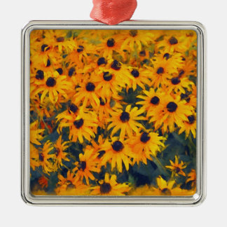 Yellow Daisies Flower-lovers Floral Art Silver-Colored Square Decoration