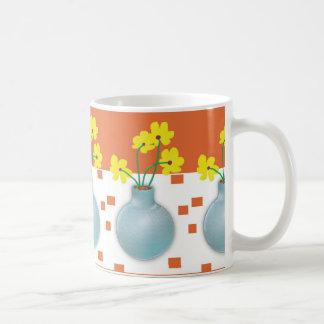 Yellow Daisies in a Blue Vase Basic White Mug