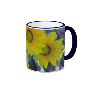 Yellow Daisies in Blue Ringer Mug