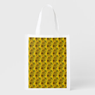 Yellow Daisies Motif accent Black White Reusable Grocery Bag