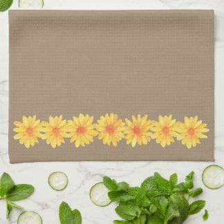 Yellow Daisies on Kraft Paper Kitchen Towel