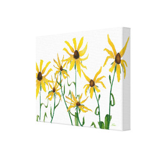 Yellow Daisies on White Canvas Print