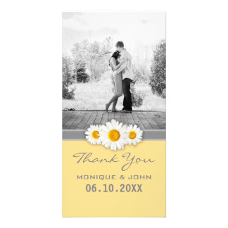 Yellow Daisies Sweet Wedding Thank You Custom Photo Card