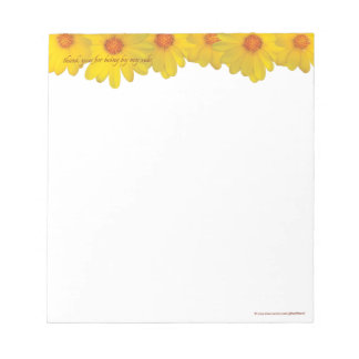 Yellow Daisies, thank you - SMALL Notepad